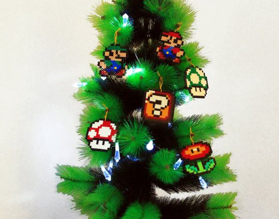 Christmas Tree Decoration Set Super Mario Bros by BeadxBead