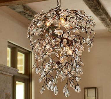 Bella Crystal Round Chandelier Pewter Finish Pottery Barn
