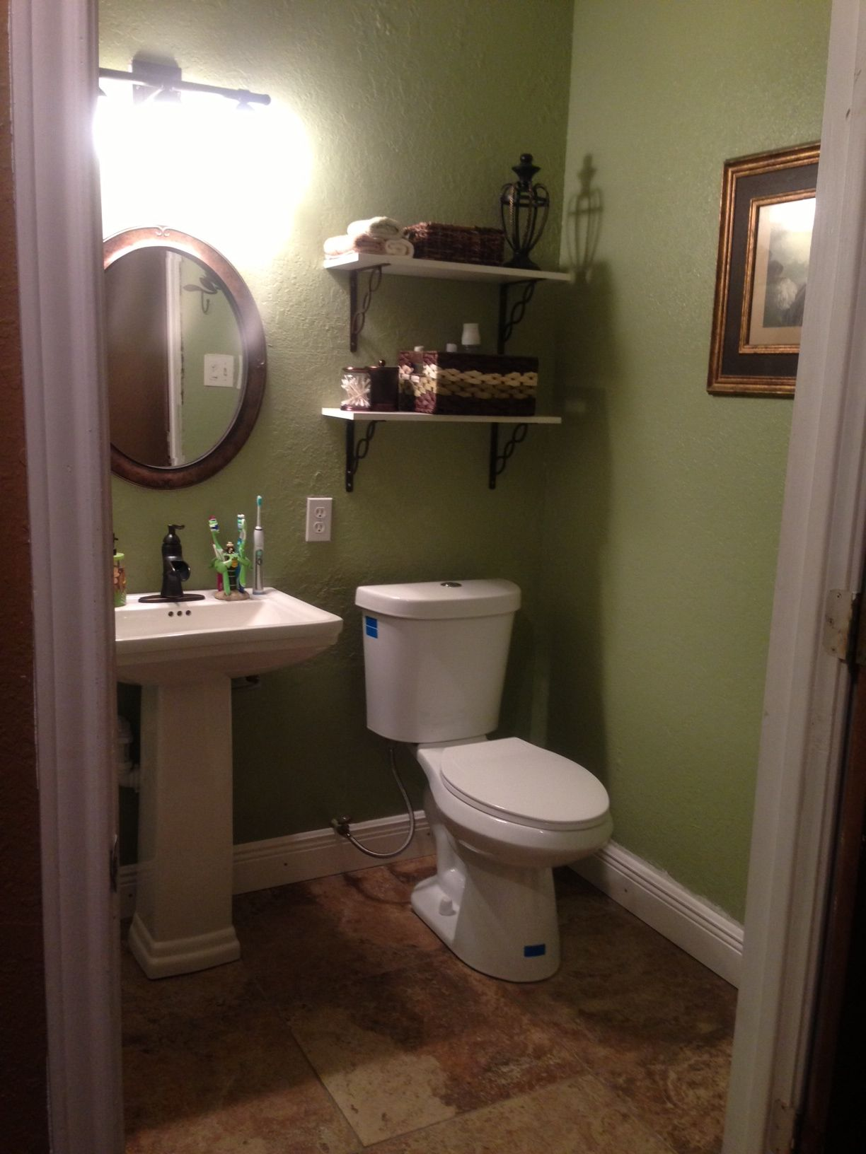 Small Restroom Green Brown Color Combo