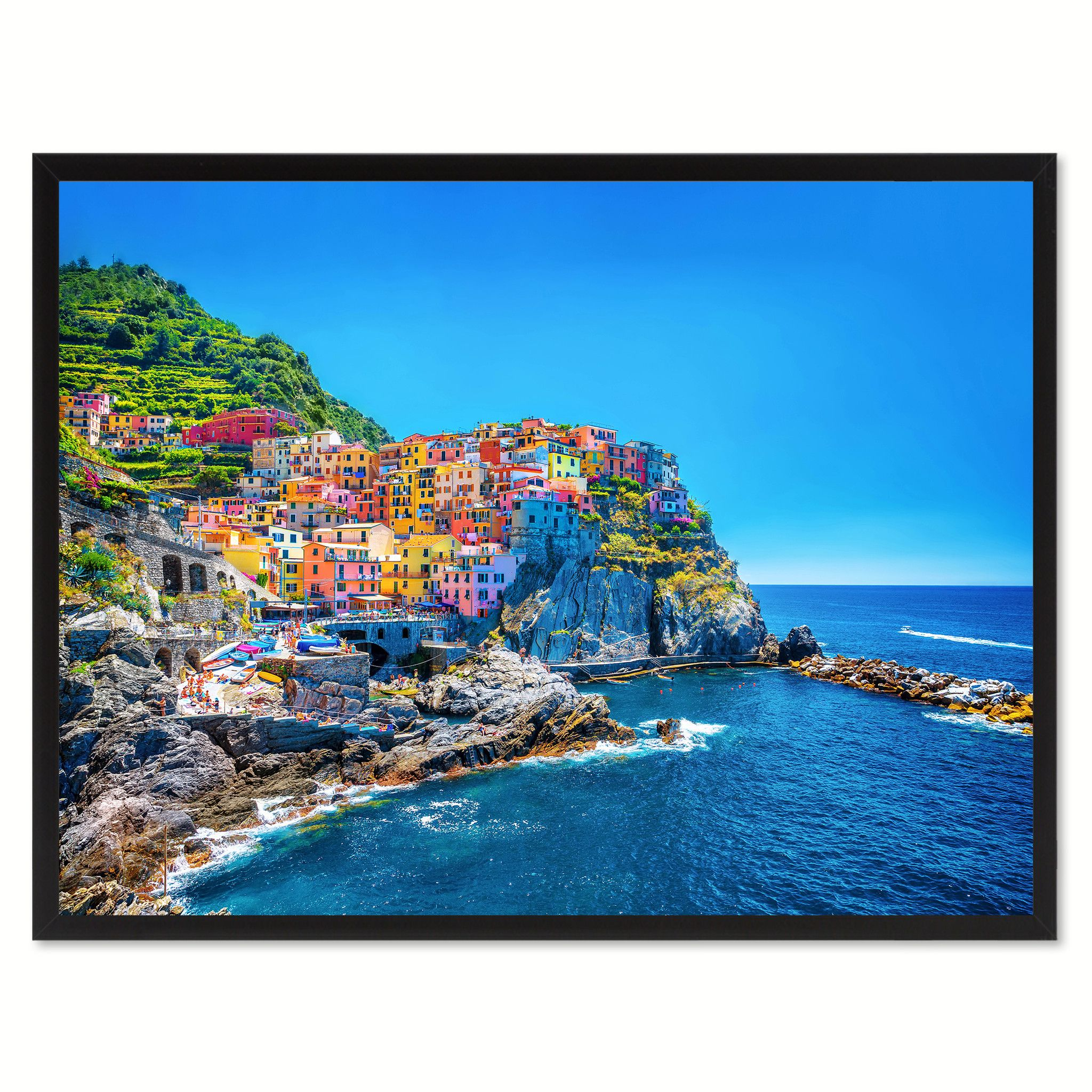 Cinque Terre Mediterranean Sea Landscape Photo Canvas Print Pictures ...