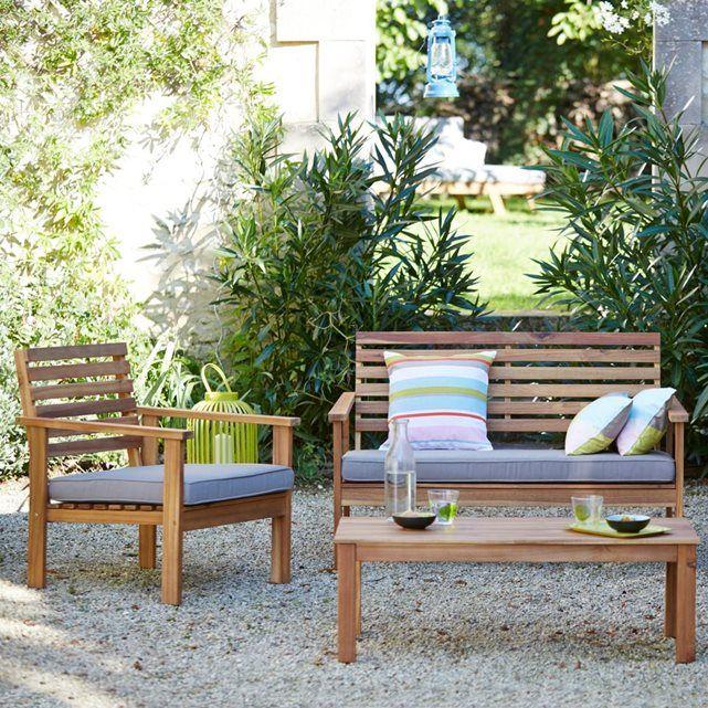 Salon de jardin 4 pièces acacia Wilma. Réalisés en acacia massif et ...