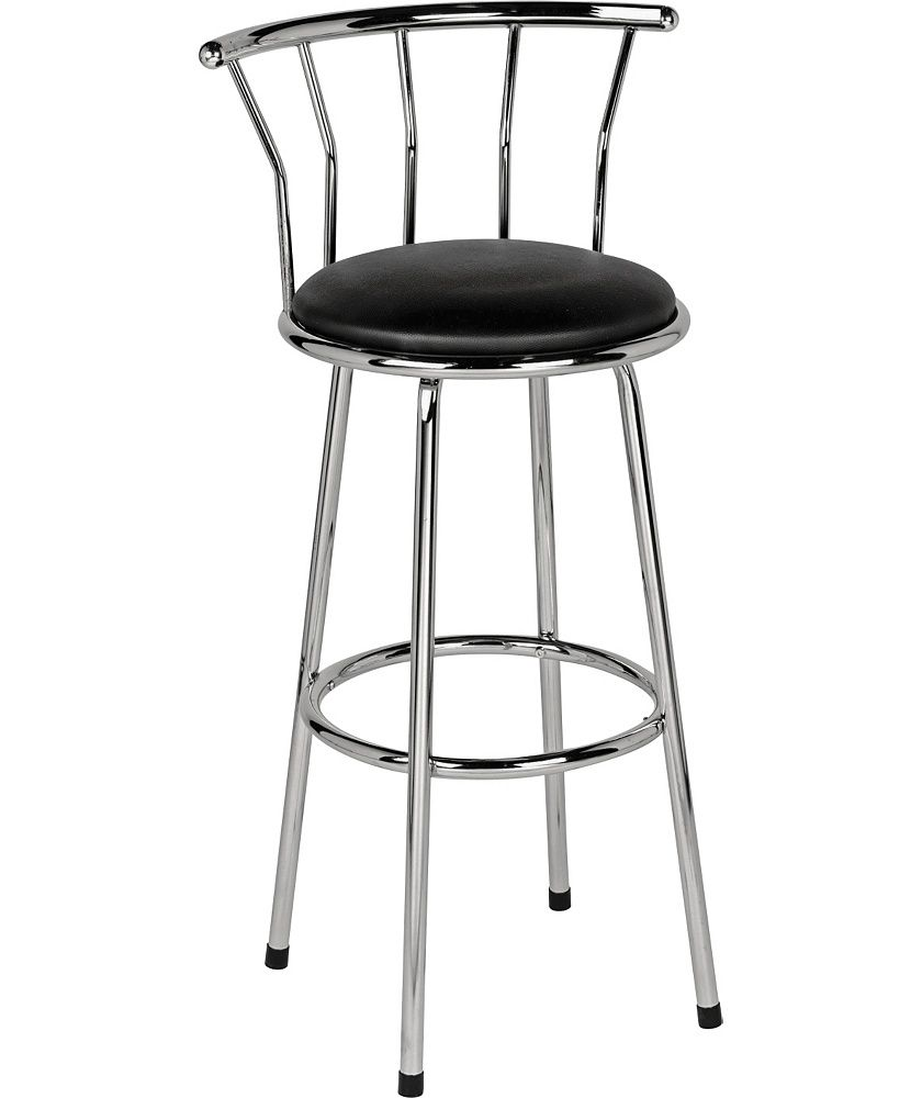 Argos Kitchen Bar Table And Chairs: Home Gemini Leather Effect Bar Stool - Black