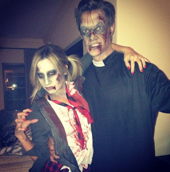 Ashley Tisdale and Christopher French as Zombies Celebrity couple - celebrity couples halloween costume ideas
