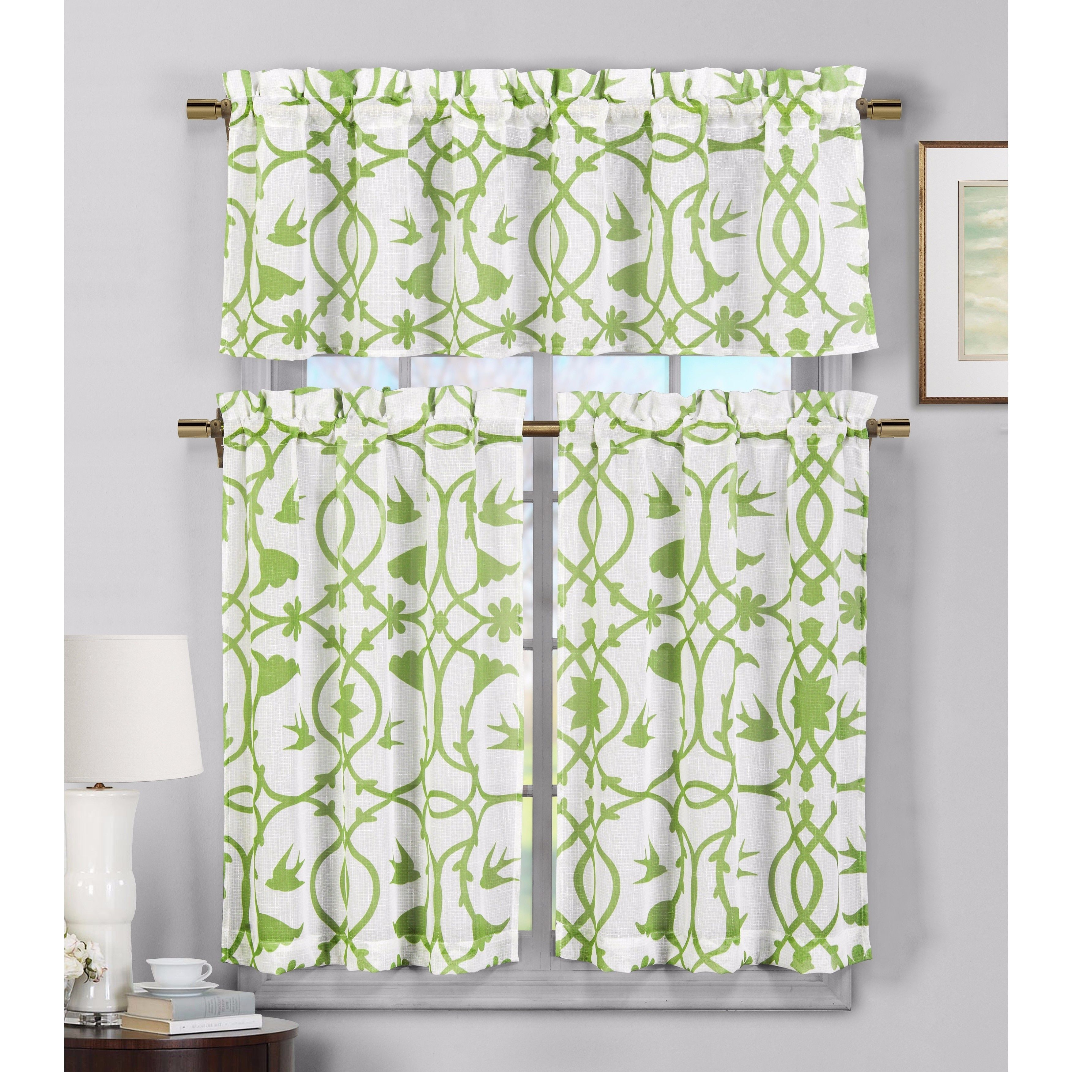Duck river udawnu faux linen kitchen curtain green polyester