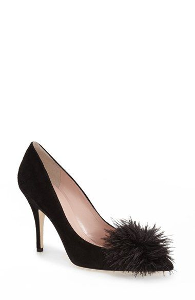 discount codes shopping online Kate Spade New York Leather Feather-Accented Pumps cheap sale wiki Kcgf5