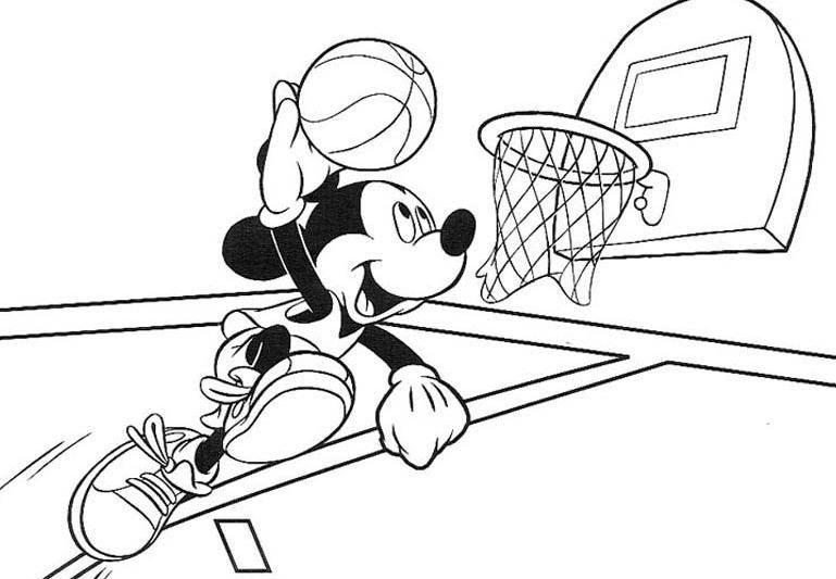 Mickey Fazendo Cesta No Basquete Paginas Para Colorir Paginas