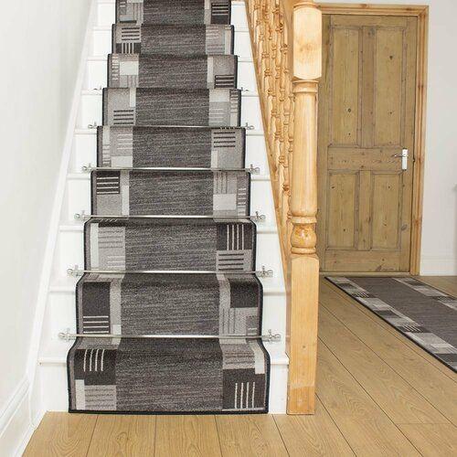Best Alpena Twist Pile Graphite Stair Runner Rosalind Wheeler 400 x 300