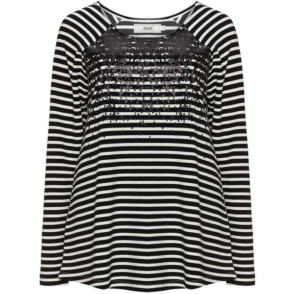 Zizzi Black / Cream Plus Size Printed striped sweatshirt (385 HRK) ❤ liked on Polyvore featuring tops, hoodies, sweatshirts, black, plus size, stripe top, plus size striped top, plus size womens sweatshirts, striped sweatshirt and plus size tops