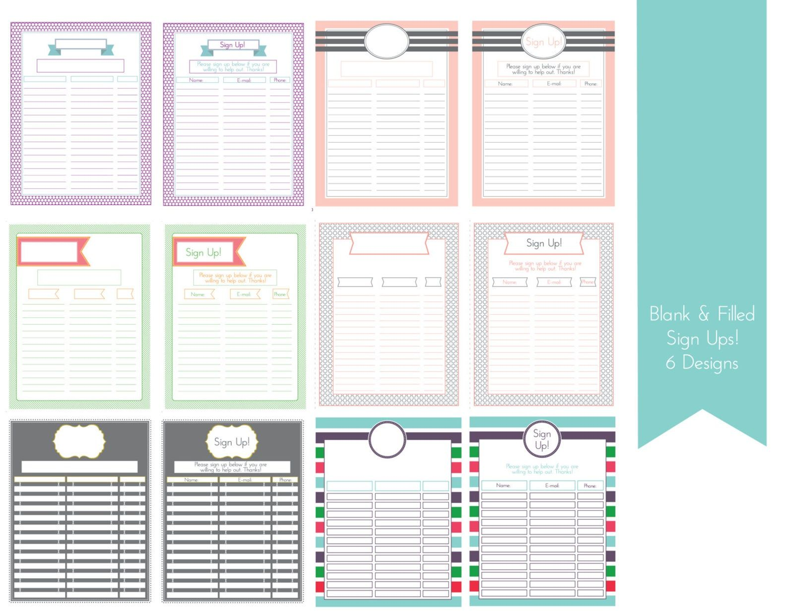 Sign Up Sheets 6 Designs Filled And Unfilled With Editable