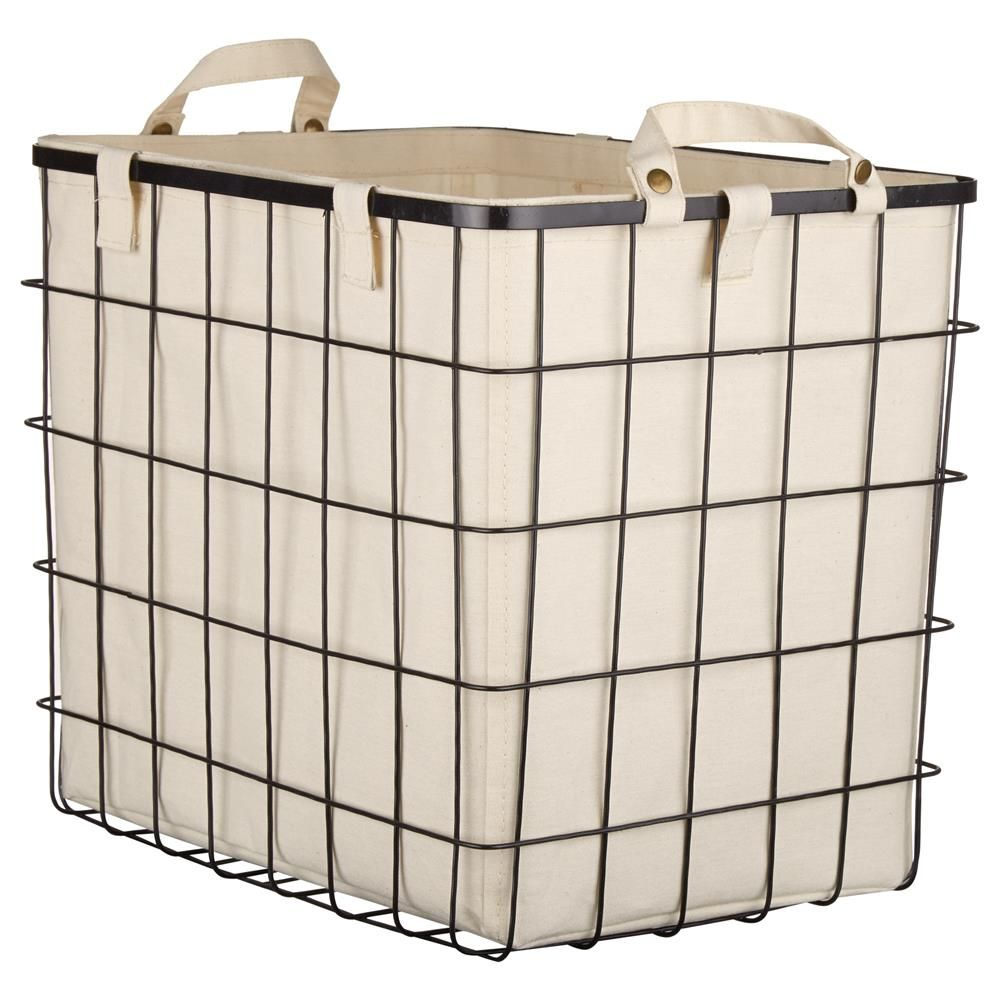 Nice Large Metal Wire Basket With Linen Lining