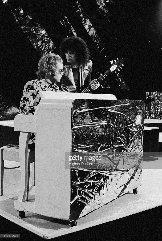 English rock stars Elton John (left) and Marc Bolan (1947