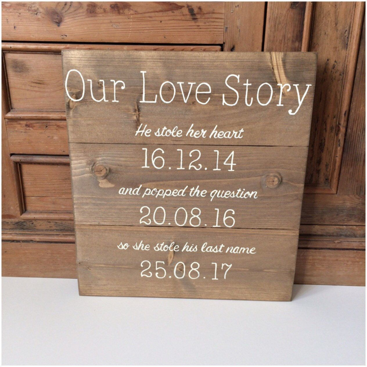 Valentines Gift For Her Love Story 5th Anniversary Gift Wood