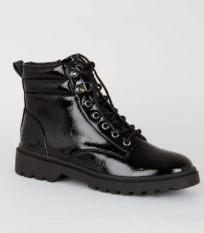 Black Patent Chunky Hiker Boots