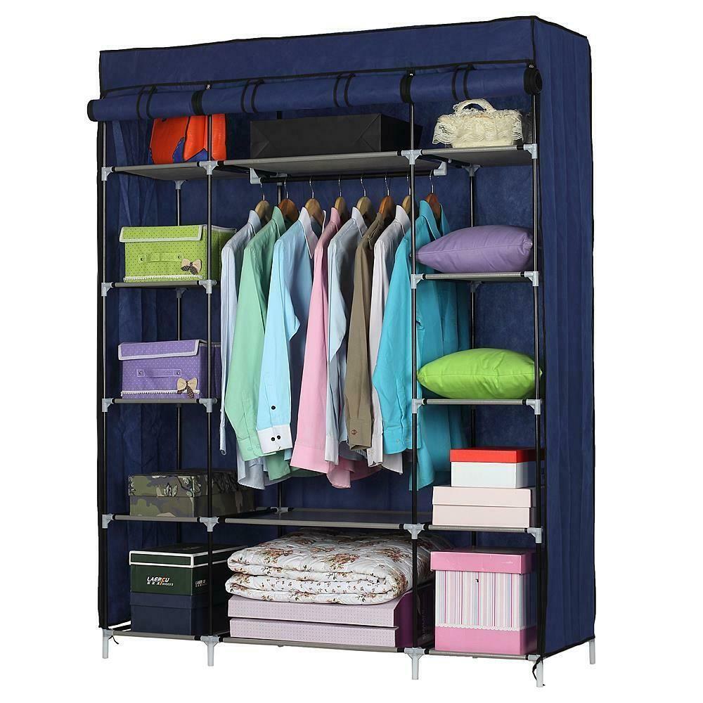 Details About Portable Closet Storage Organizer Wardrobe Clothes Rack Shelves Blue Modern Home In 2020 Portable Closet Closet Clothes Storage Clothes Storage Organizer