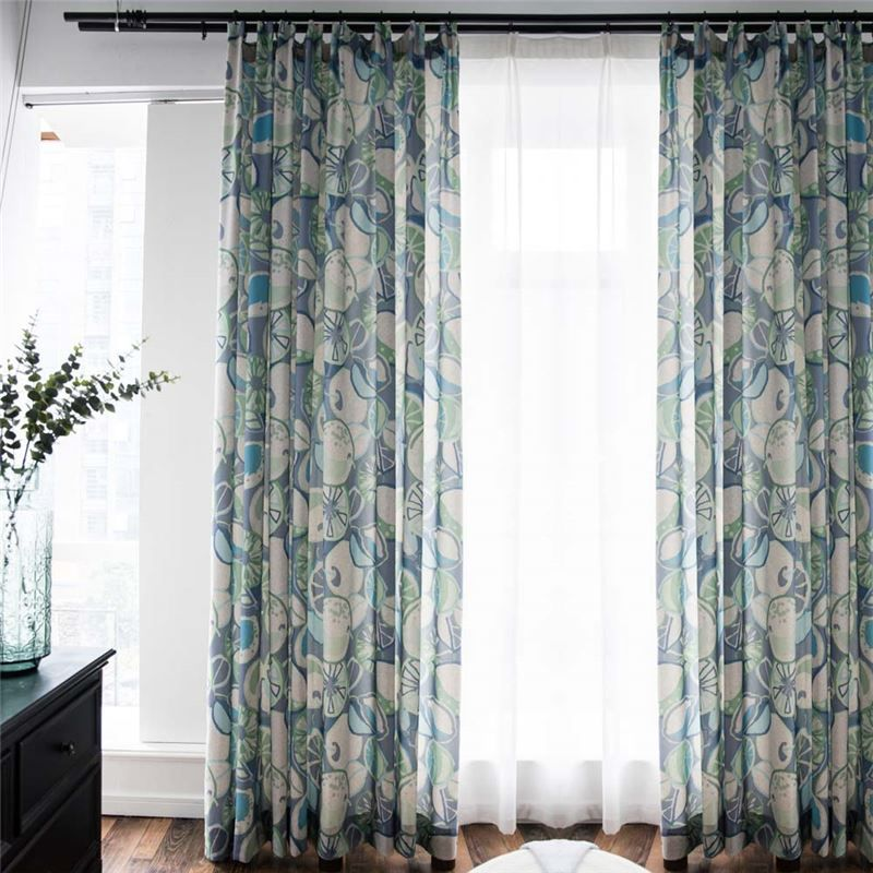 American Abstract Printed Curtain Fruit Pattern Curtain Living