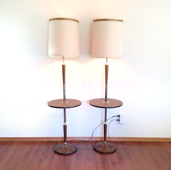 Pair Of Vintage Floor Lamps With Attached Table Lamp Table