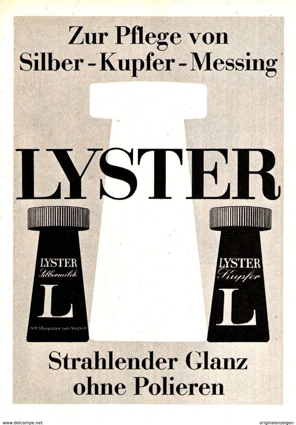 OriginalWerbung/ Anzeige 1962 LYSTER SILBER KUPFER