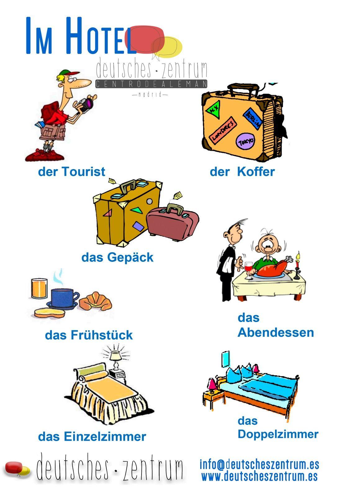 Im Hotel Deutsch Wortschatz Grammatik German DAF Vocabulario Alemán ...