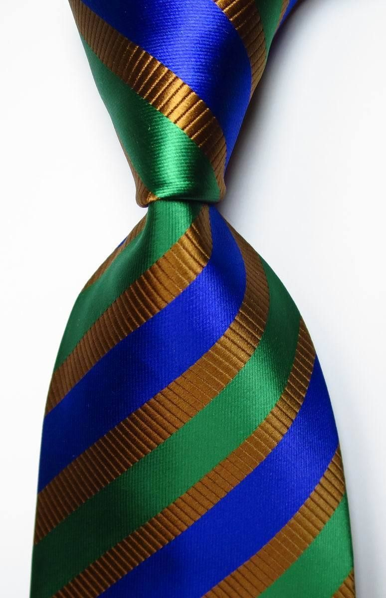 fa6d83a2c837 This is a TOP CLASSIC Gold, Blue, Green striped 100% silk jacquard necktie  at Guys Who Love Ties.
