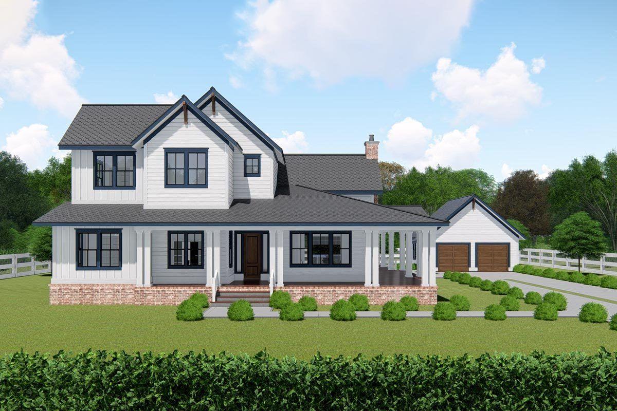 Plan 25415tf Classic Farmhouse Plan With 8 Deep Wrap Around Porch In 2020 Farmhouse Plans Architectural Design House Plans House Plans