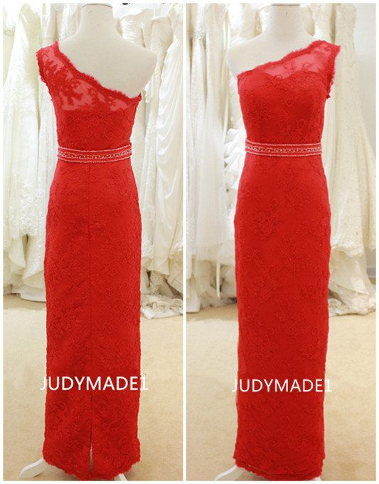 2014 summer one shoulder red lace long evening