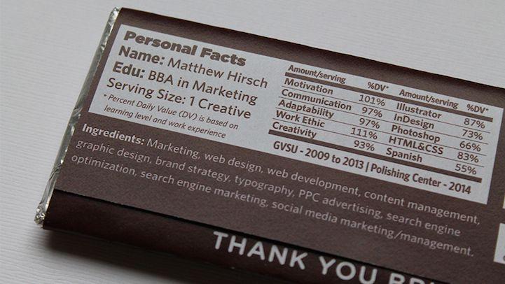 creative designer crafts resume on a chocolate bar wrapper