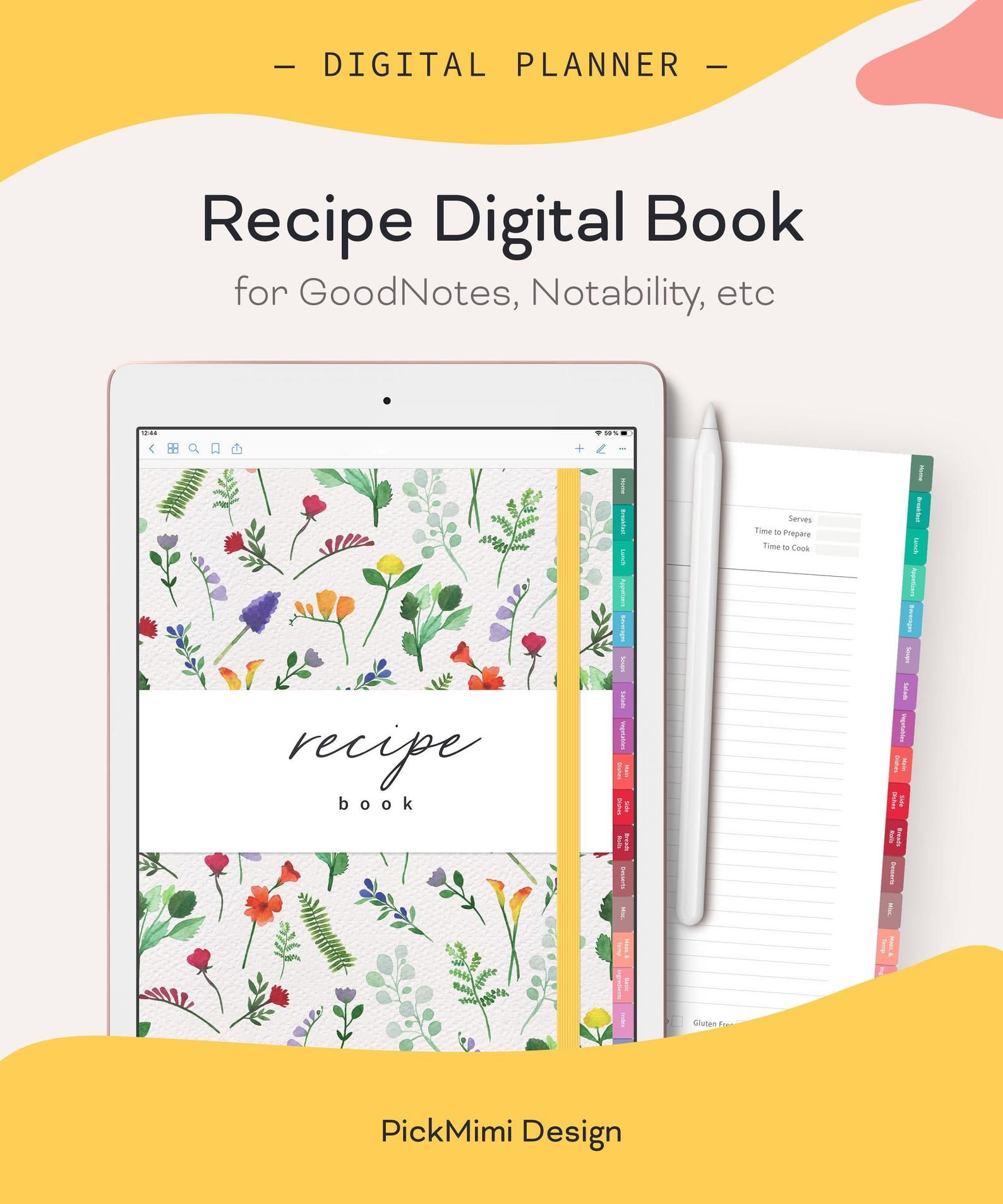 Digital Recipe Book For Goodnotes Notability Hyperlinked Recipe Pages Digital Recipe Cards Template Recipe Page Template In 2021 Digital Recipe Book Recipe Cards Template Recipe Book Templates