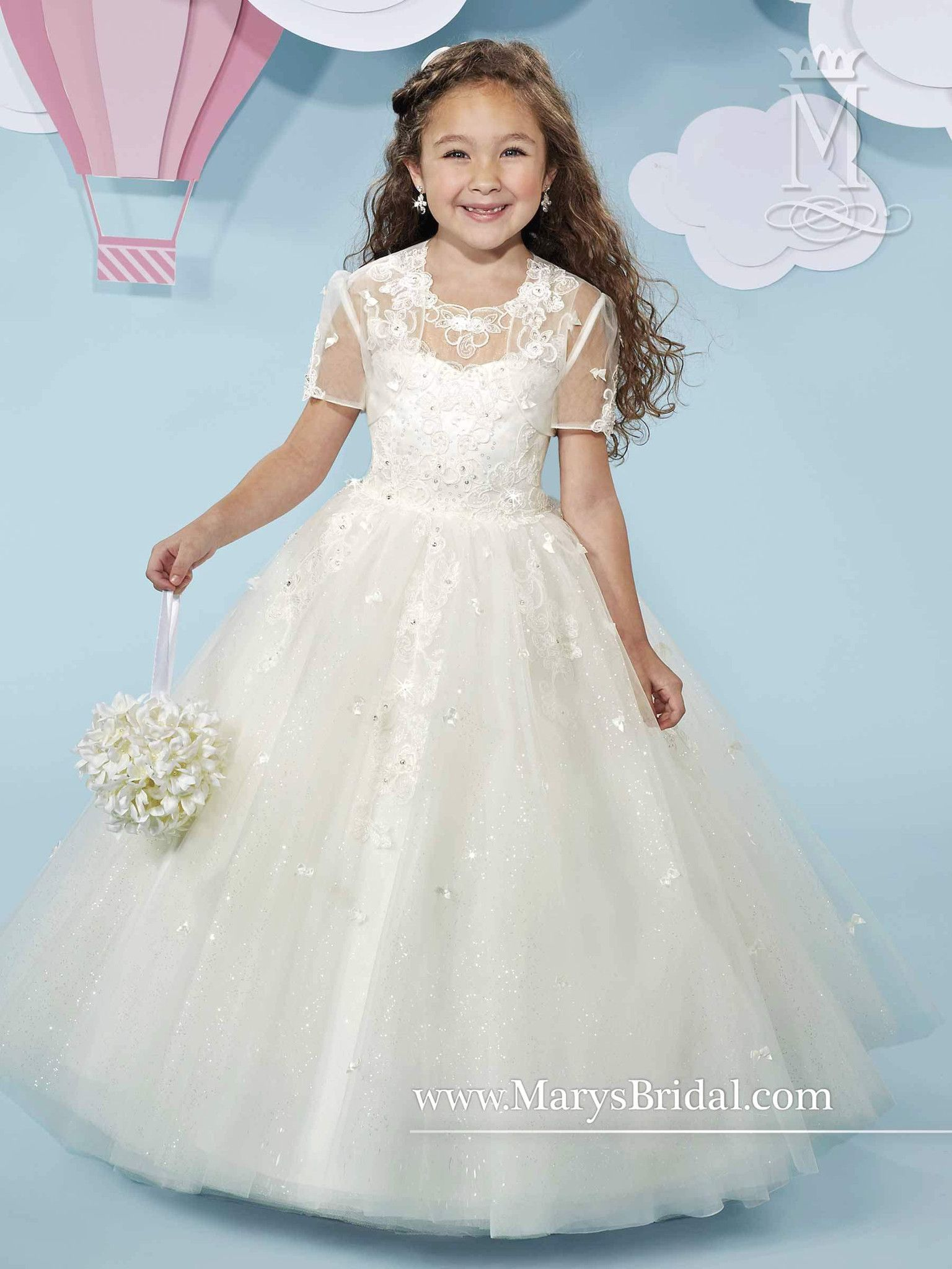 89b80da5d5 Sleeveless Tulle Lace Flower Girl Dress by Mary s Bridal Cupids F518 ...