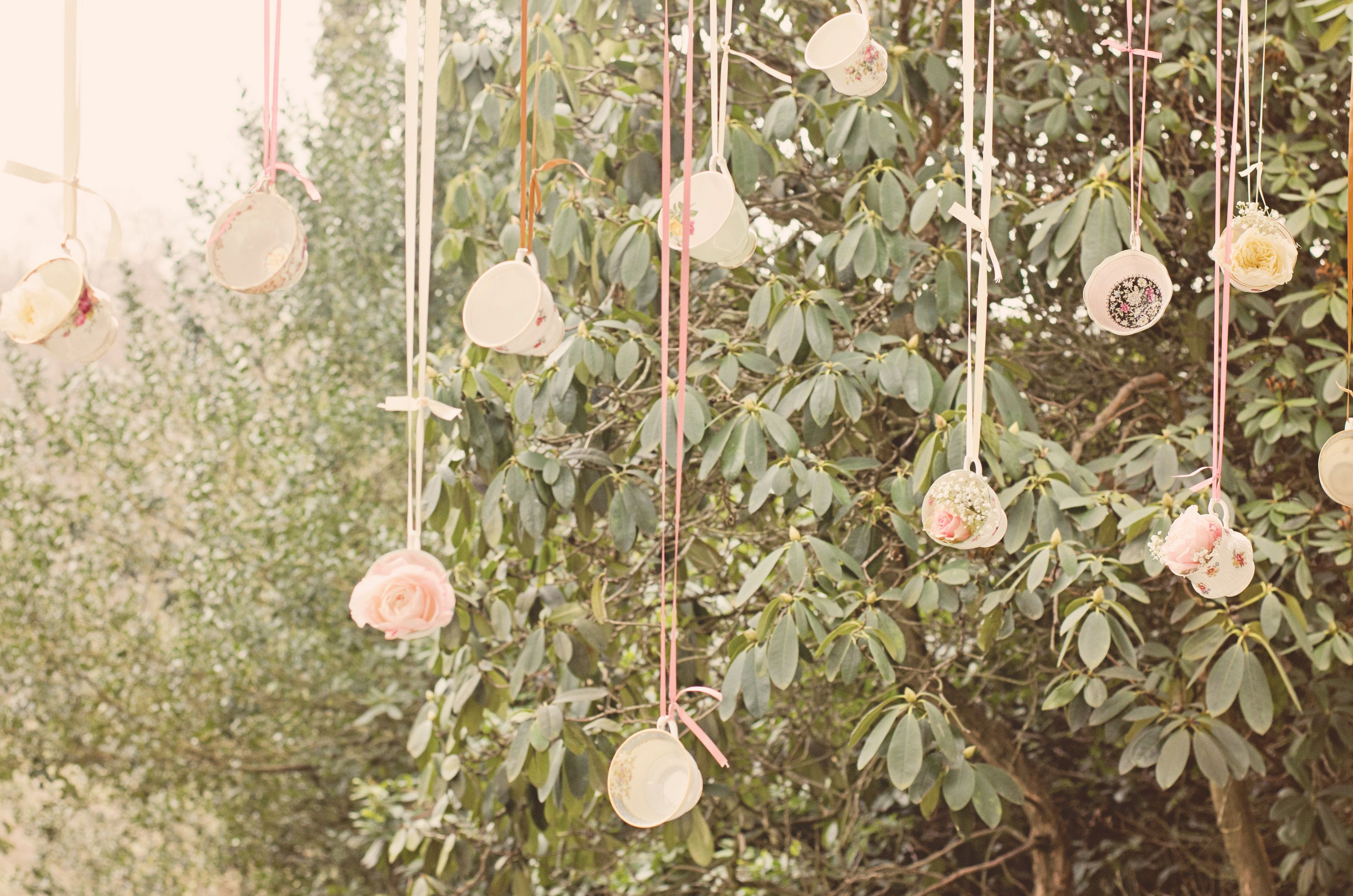 Example hanging flowers from ribbons