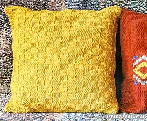 Вязание чехол для подушки спицами 691