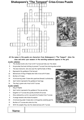 The Tempest Character Puzzles Tempest Teaching Fun Character