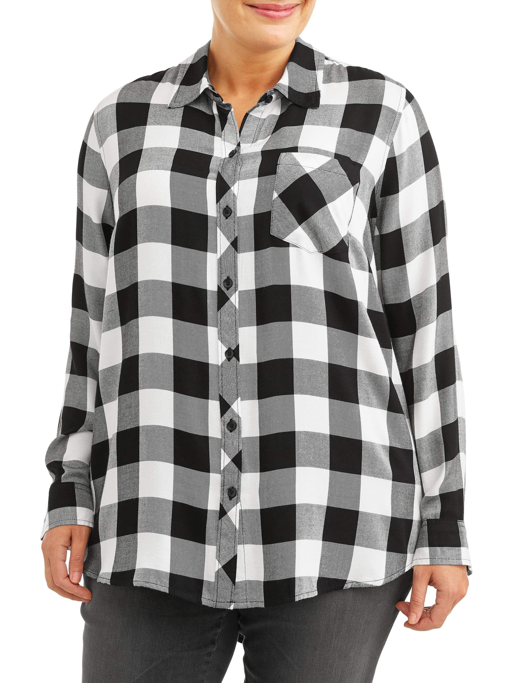 Terra Sky Terra And Sky Women S Plus Size One Pocket Plaid Button Down Shirt Walmart Com Shirts Button Down Shirt Plaid [ 2667 x 2000 Pixel ]