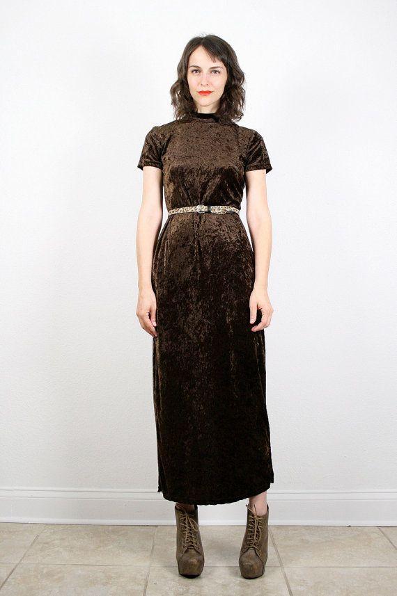 3cf883908c4 Vintage 90s Dress Grunge Dress Crushed Velvet Dress Maxi Dress Chocolate  Brown Dark Brown Espresso Bandage Dress Velour Bodycon M Medium  vintage   etsy  90s ...