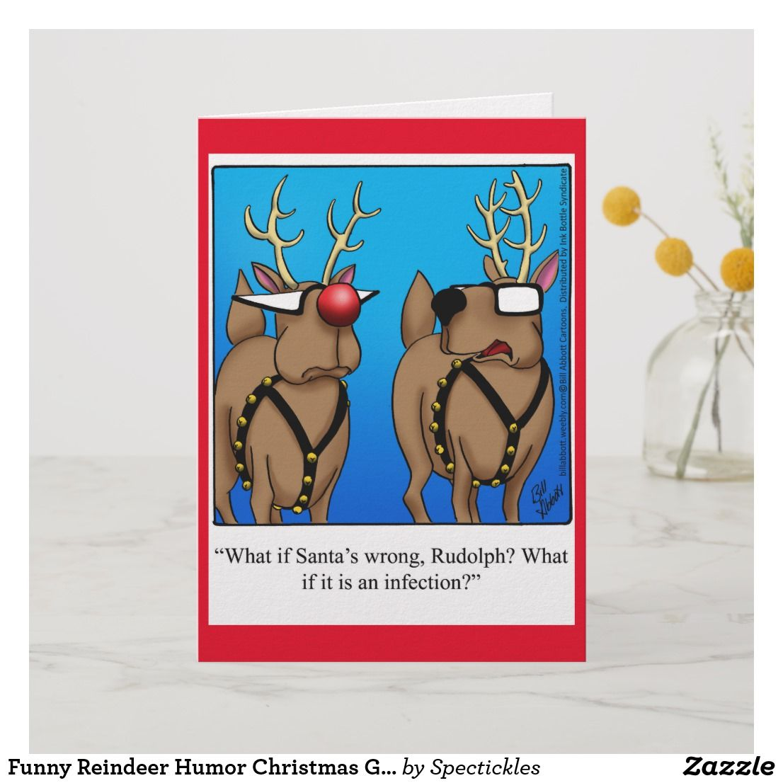 Funny Reindeer Humor Christmas Greeting Card