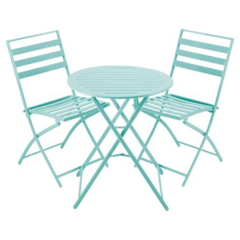 Milan Folding Metal Bistro Set Aqua 163 35 Bistro Sets