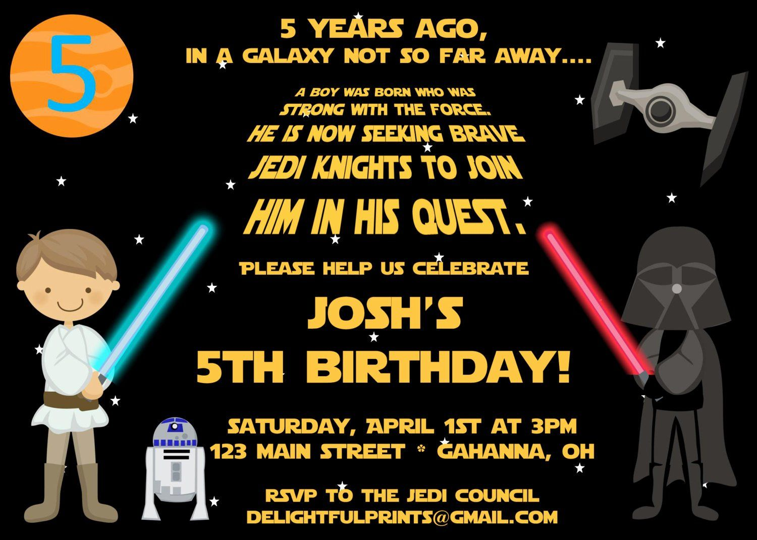 star wars birthday invitations