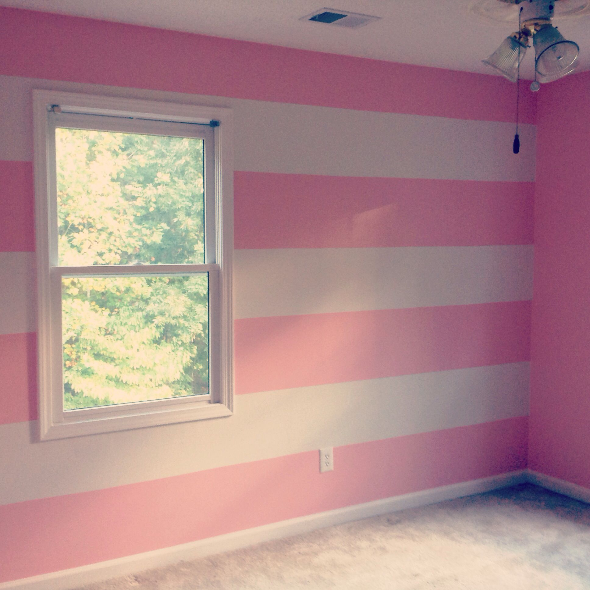 Pink And White Horizontal Wall Stripes Nursery Babygirl Pink