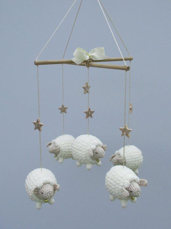 Baby Mobile Nursery Sheep Lamb Crib Crochet Gift Childs Room Decor Animal Natural