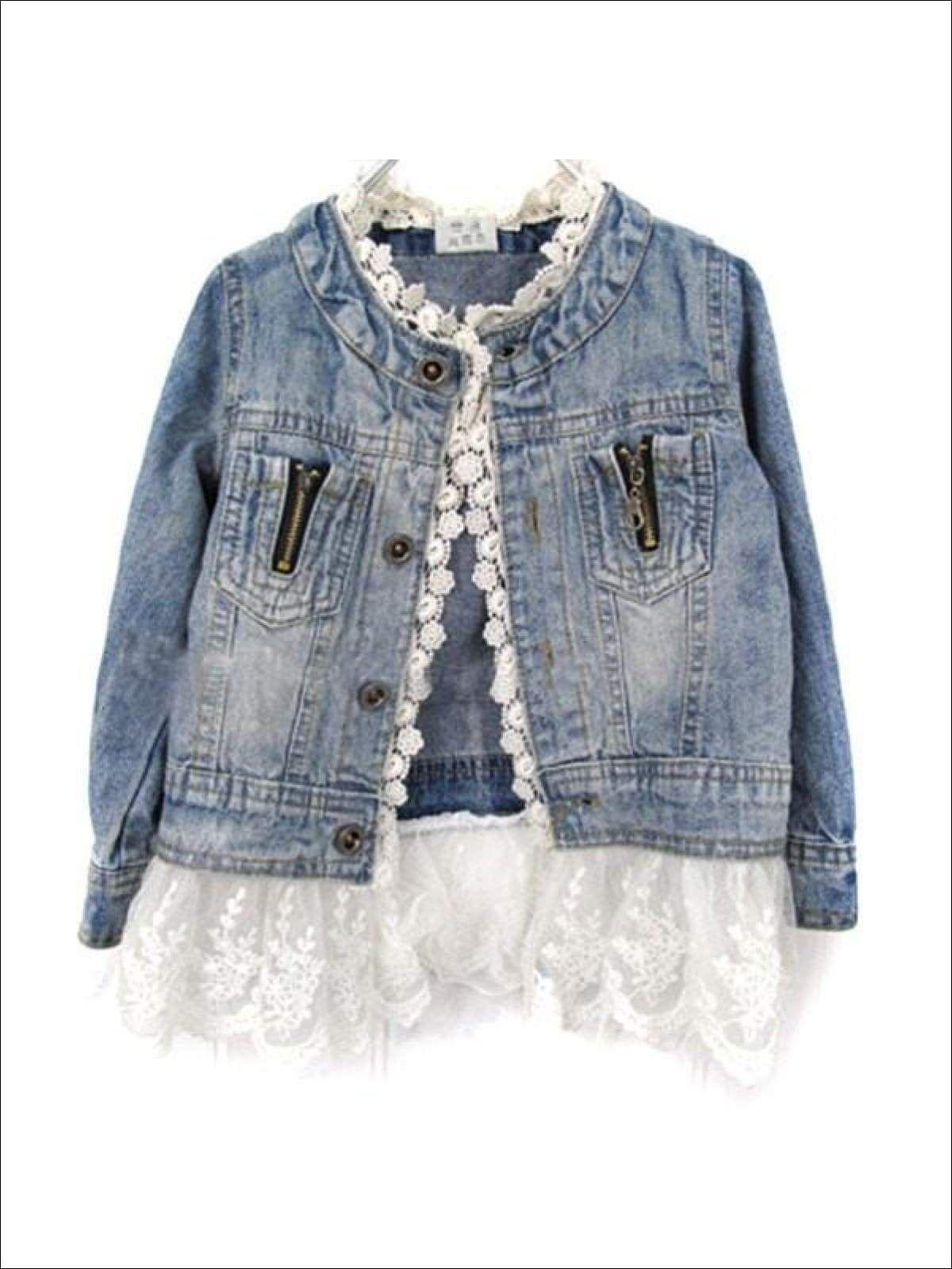 Girls Denim Jacket With Lace Trim Long Sleeve Denim Jacket Jean Jacket For Girls Girls Denim Jacket [ 1600 x 1200 Pixel ]