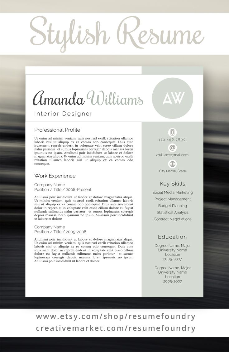 Professional and stylish resume template Instant Download