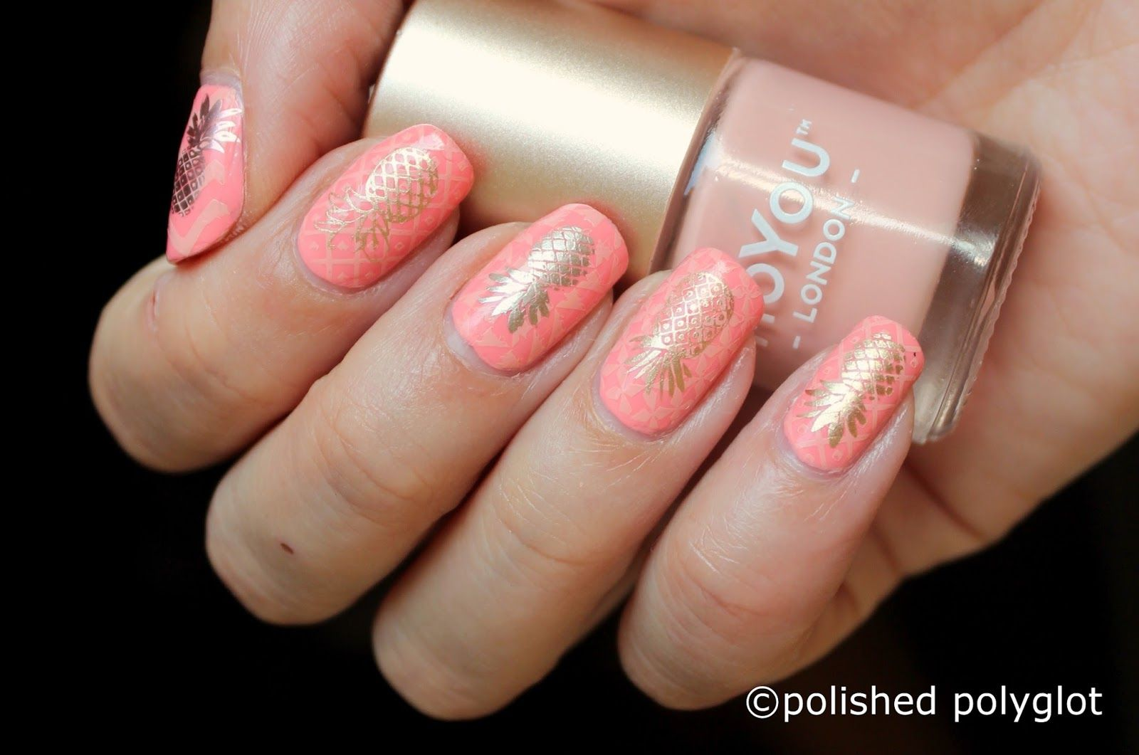 Summery nail art design including golden pineapples. Done using ...