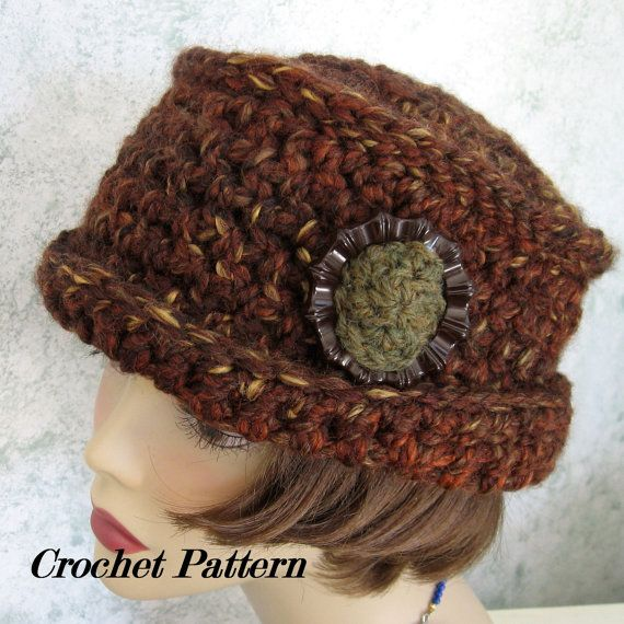 Womens Crochet Hat Pattern With Brim And Large Trim Piece Quick And ...