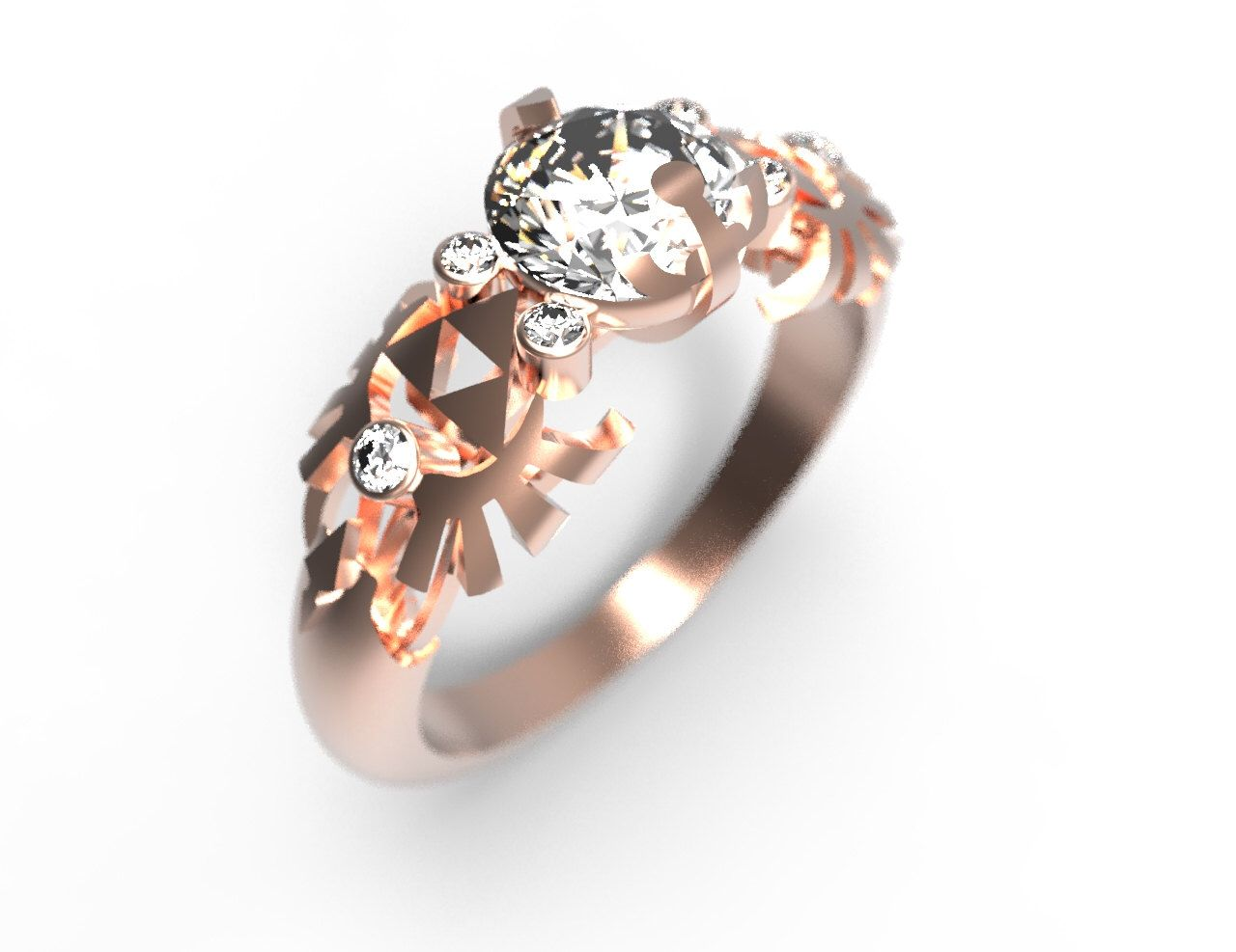 Zelda Engagement Ring Triforce Inspired Rose Gold Engagement Ring
