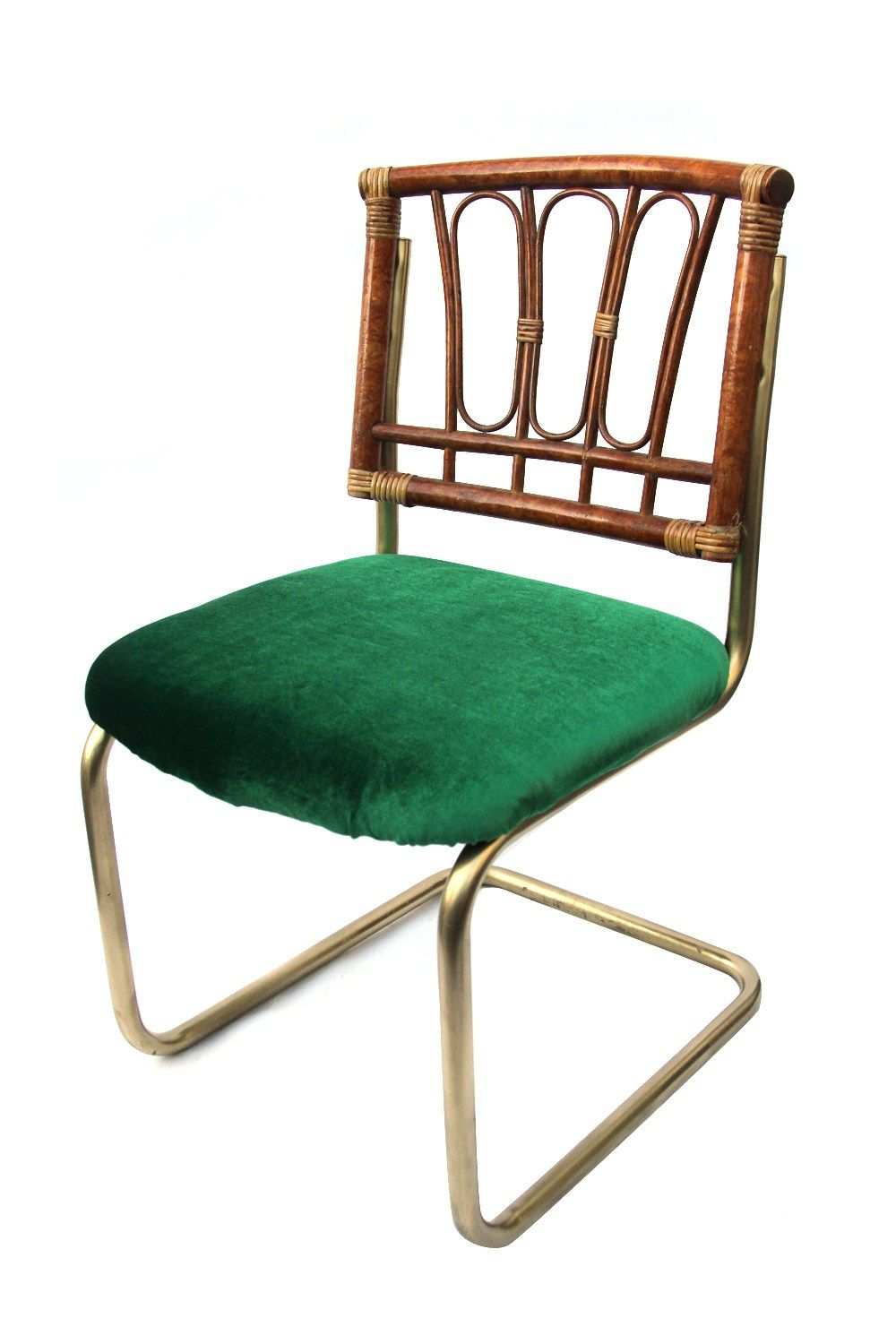 Vintage Rattan Gold Metal Green Velvet Cantilever Chairs