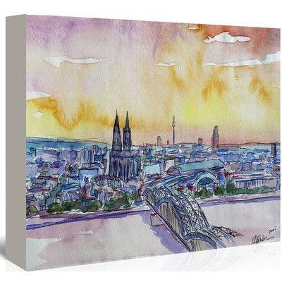 Americanflat 'Cologne Deutz Bridge Sunset' by M Bleichner Original Painting on Wrapped Canvas Size: