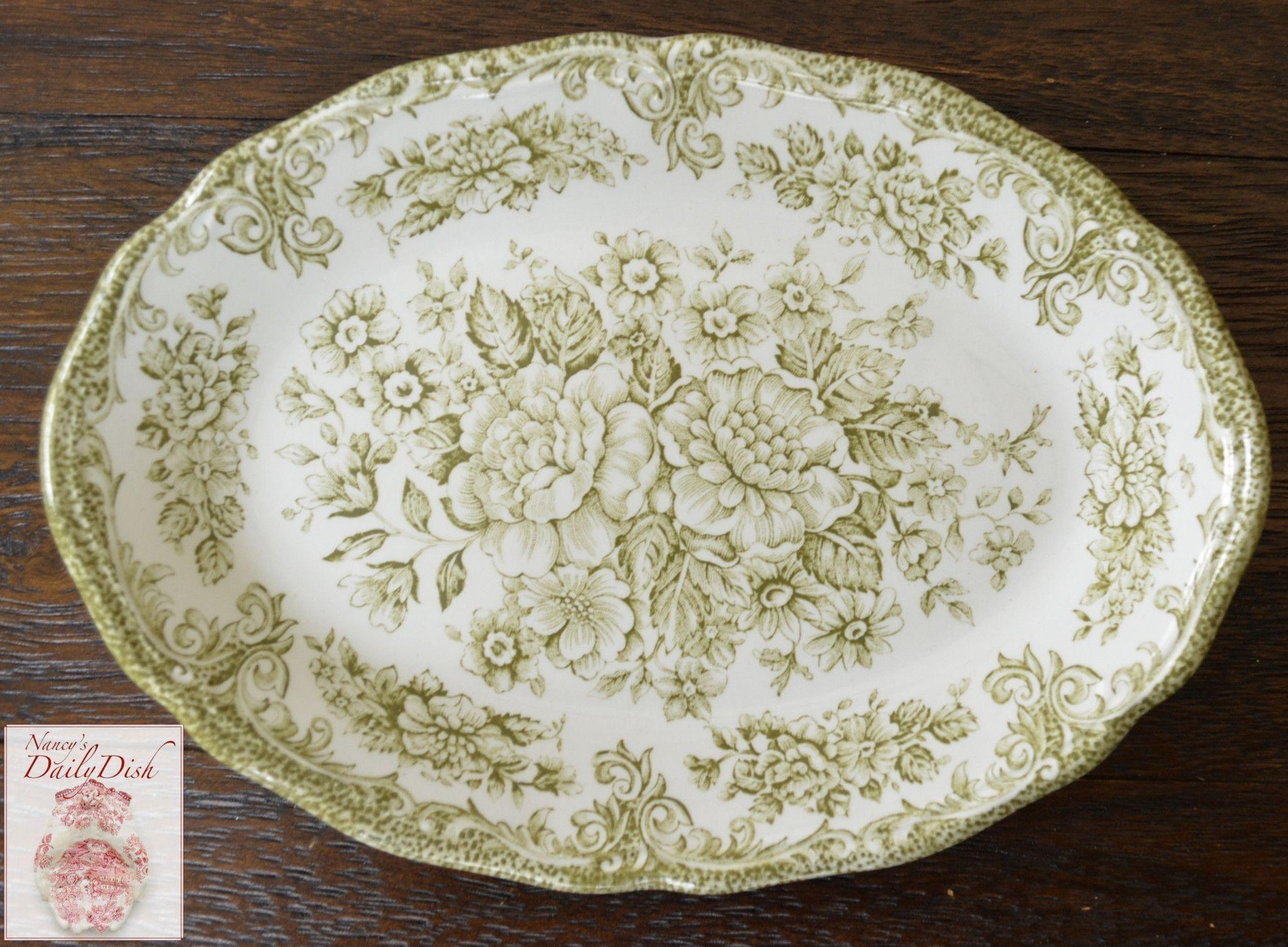 Vintage Sage / Olive Green Transferware Relish Tray Small Platter Rose