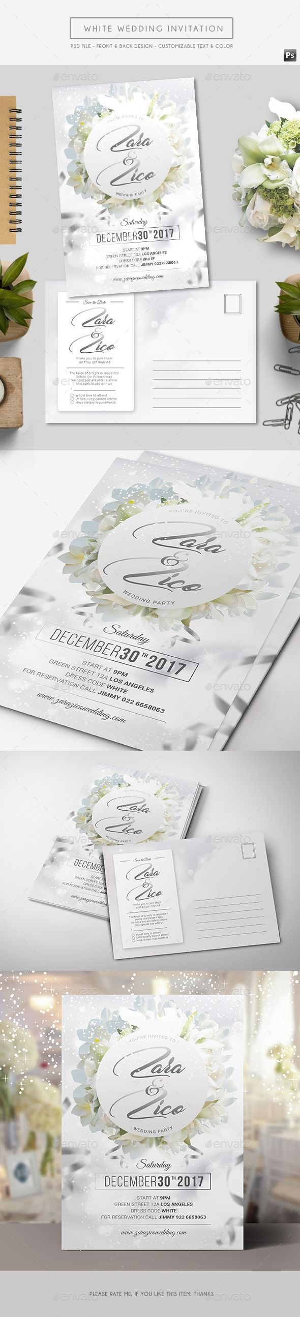 White Wedding Invitation | Pinterest | Template, Edit text and Weddings