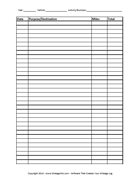 Free Printable Mileage Log Four Columns  Free Business Printables