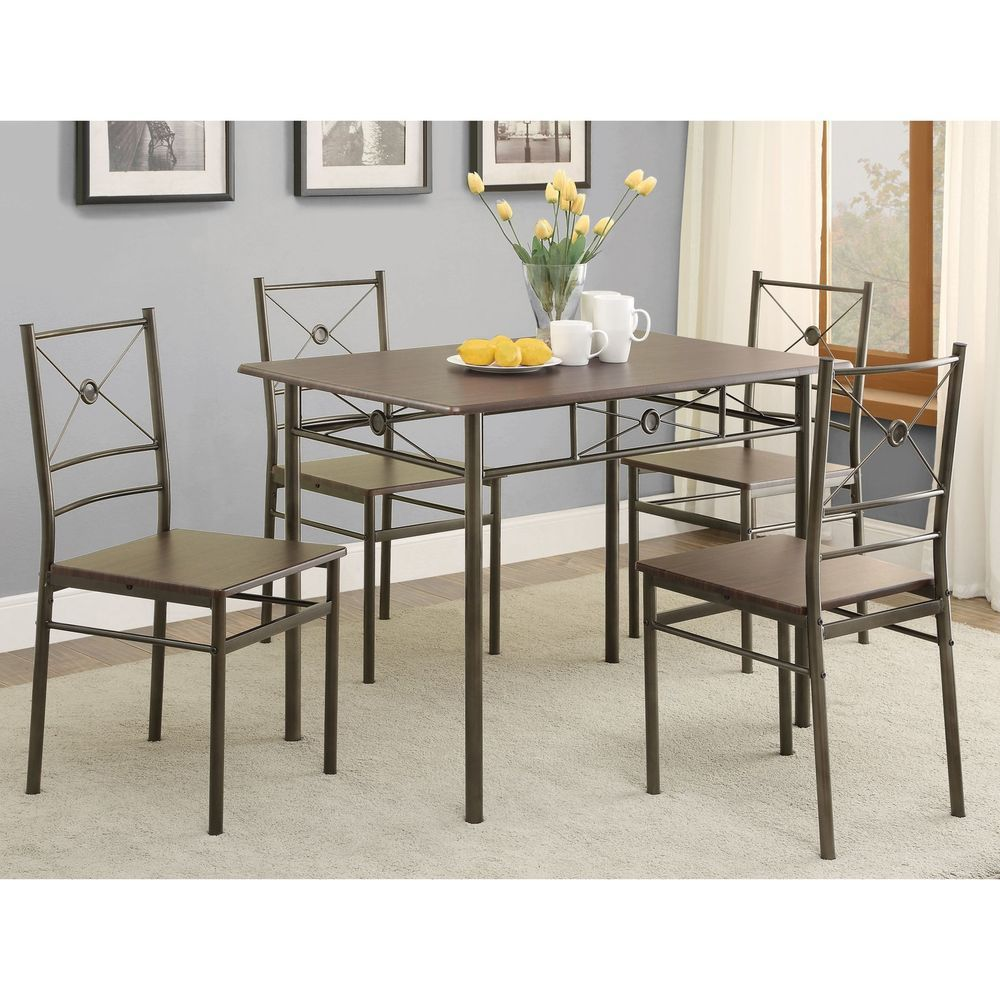 piece dining set walnut table and chairs kitchen room modern wood