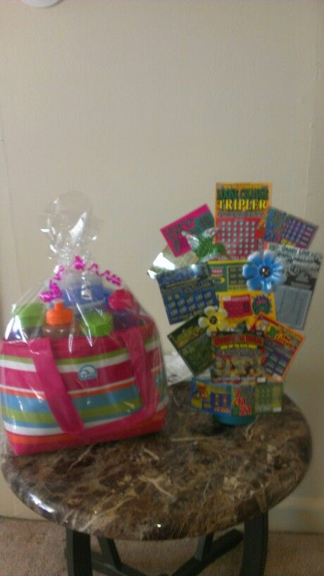 A lunch bag raffle basket and a scratch off lotto basket for Super cheap gift ideas
